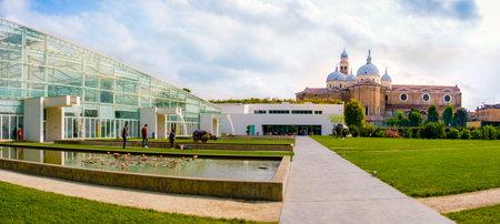 Orto Botanico di Padova ( Botanical Garden of Padua), the Santa Giustina cathedral in background (Padua, Italy, 24 Apr 2017)