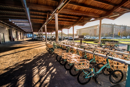bike parking outside Fico Eataly World in Bologna, Italy, 19 Nov 2017 Editorial
