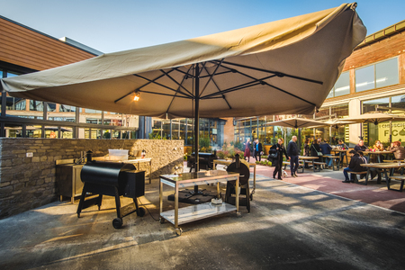 modern outdoor barbecue grill restaurant Fico Eataly World Editorial