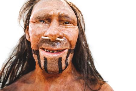 realistic prehistoric early man neanderthal reproduction portrait closeup