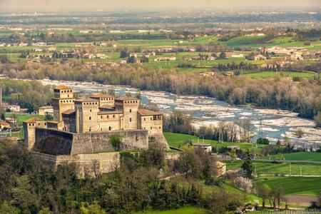 Parma Italy Torrechiara castle aerial view of Castello di Torrechiara in Emilia Romagna panorama Italian Castles