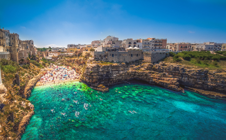 colorful south italy village in Puglia in the town of Polignano Stok Fotoğraf