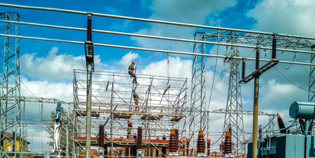 men at work electricity distribution primary substation workers
