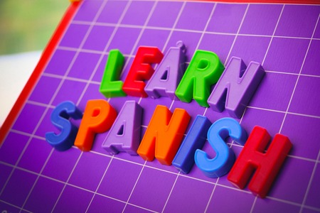 learn spanish language alphabet on magnets letters 스톡 콘텐츠