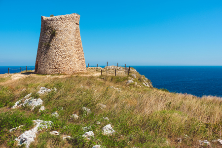 Salento countryside scenic watchtower coastal sea tower of Sant Emiliano - Otranto - Apulia - Italy