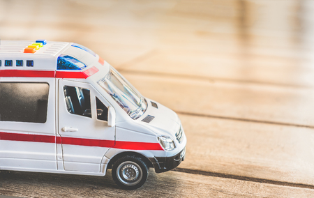 ambulance side view background health care toy close up