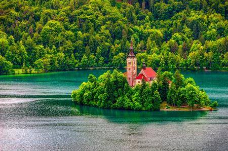 Bled lake church island aerial background - Slovenia 写真素材