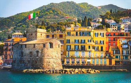 retro italian castle seaside vintage travel background Castello di Rapallo italian riviera - Italy 写真素材