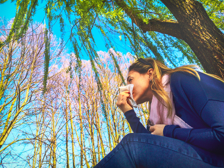 blowing nose respiratory allergic seasonal flu springtime - Hay fever pollen allergy 写真素材