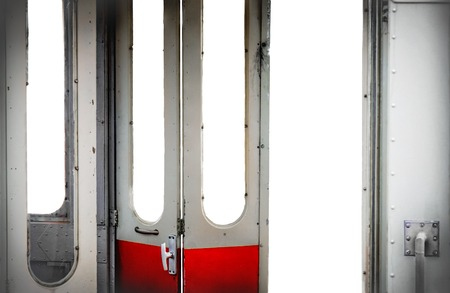 old tram open doors interior isolated white background - visit city with public transport concept