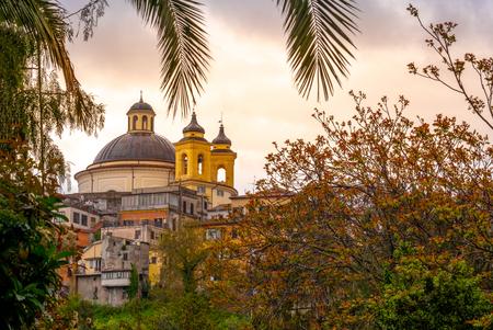 Ariccia - Rome suburb - Lazio - Italy Santa Maria church dome branches colorful sunset background