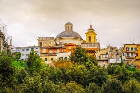 Ariccia - rome suburb in Lazio on Castelli Romani the cupola dome of Santa Maria Church with village skyline
