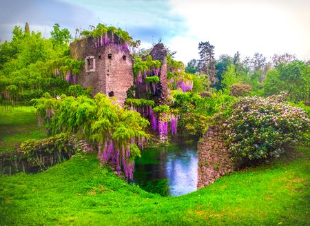 Fleurs de glycine dans le jardin féerique de ninfa en Italie - ruine de la tour médiévale entourée par la rivière Banque d'images