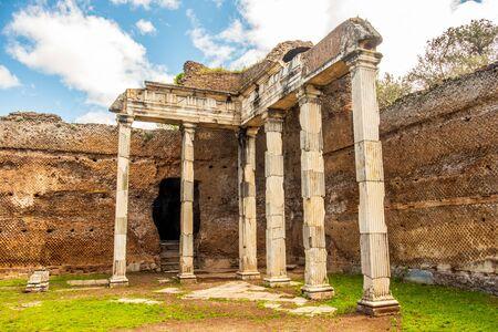 Villa Adriana roman ruins columns - Rome Tivoli - Italy Stock Photo
