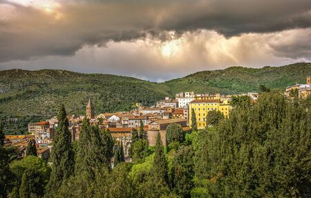 italian town of Tivoli near Rome with dramatic stormy sky