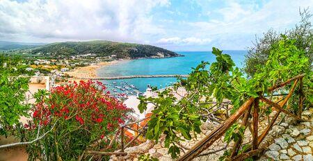 panoramic mediterranean seascape in italy - Peschici in Puglia Gargano Stock Photo