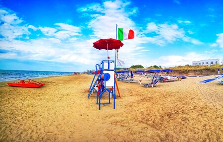 italian beach italy flag lifeguard station
