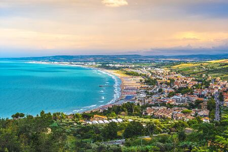south italy sea mediterranean coast sunset in Vasto Marina - Abruzzo region - Chieti province - Italy