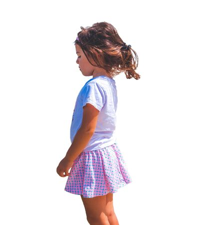 sad children emotion isolated side view female baby girl background