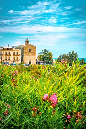 Italia church in Vasto - Abruzzo - Italy summer vertical . Banco de Imagens