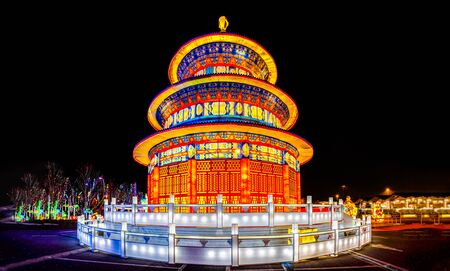 pagoda lantern festival by night with beatiful chinese light decorations 版權商用圖片