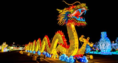 A chinese dragon lantern festival panoramic night .