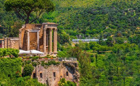 Rome local landmark of Tivoli - Lazio region of Italy - Temple of Vesta Circular Temple roman temple symbol Archivio Fotografico