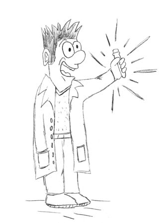 hand-drawn scientist holding test tube happy for vaccine virus discovery Illustration