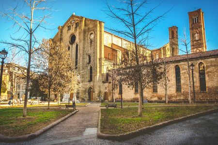 Italy local landmarks of emilia romagna region - Bologna - Piazza San Francesco square and church