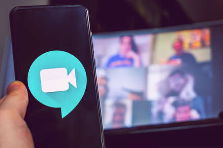 hand use videoconference app icon Goole Meet meeting Редакционное