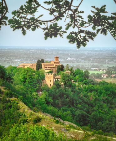 Bologna landmark Abbazia of Monteveglio vertical background Emilia Romagna region - Italy Imagens