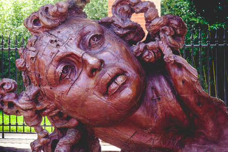 red Statue face at the art museum of the Masone Labyrinth in Fontanellato - Parma - province - italy