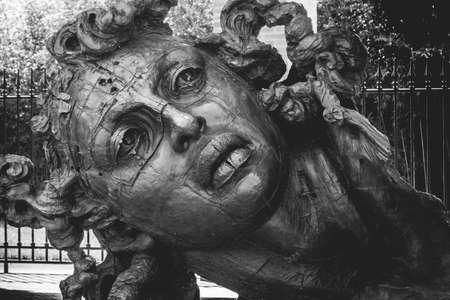 Statue face in black and white at the art museum of the Masone Labyrinth in Fontanellato - Parma - province - italy