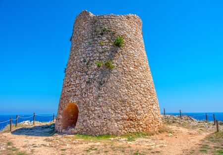 ancient lookout tower stone watchtower of Sant Emiliano in Salento , Puglia region - Italy