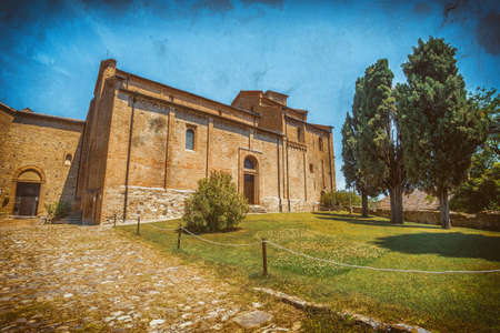 church in italy photographic plate effect - Monteveglio - Bologna