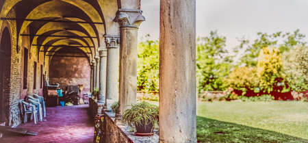 cloister horizontal photography background panoramic garden arcade