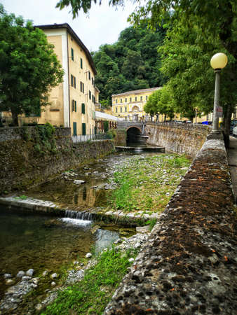 vertical river in italy town village of Porretta near Bologna in Emilia Romagna