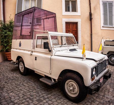 Popemobile of Pope Wojtyla John Paul II, the model is a Land Rover Santana