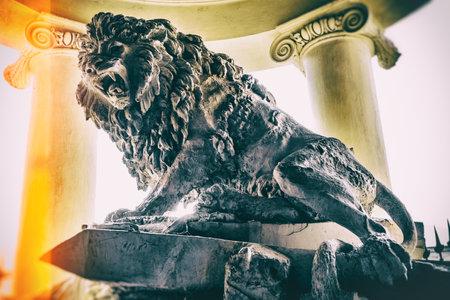 gladiators den lion statue vintage background