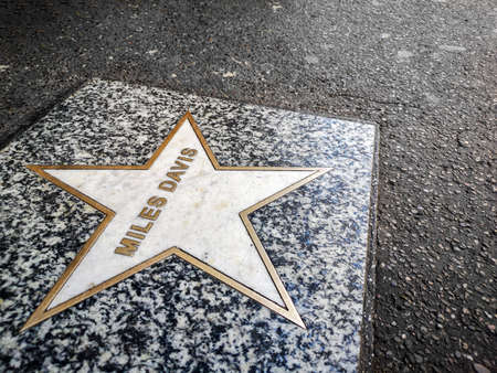 walk of fame star dedicated to Miles Davis , a jazz music legendary musician Редакционное
