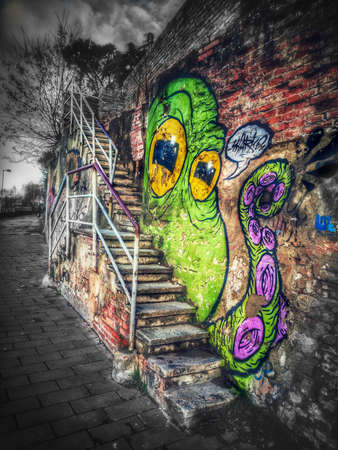 Octopus graffiti art near a city street stair