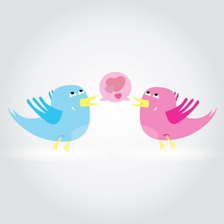 Birds love each other  An illustration Vector