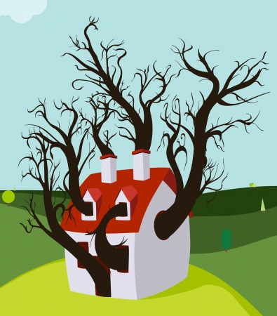 House Tree Grown Inside Vector
