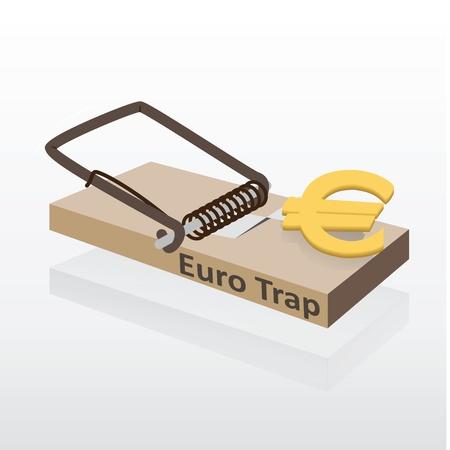 mousetrap: Mousetrap with euro money vector illustration