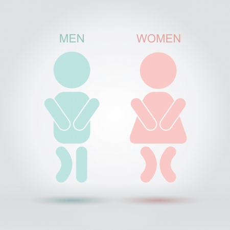 wc sign: Men women bathroom sign Illustration