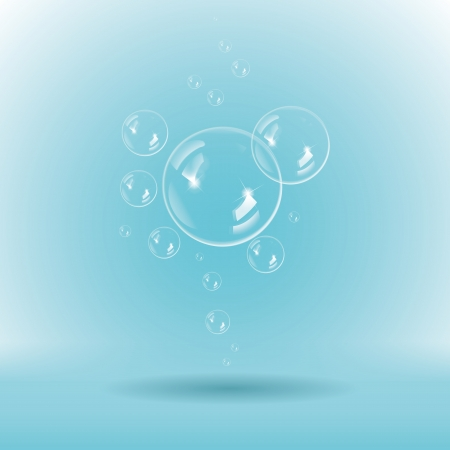 soapy: Blue soap bubbles on white background Illustration