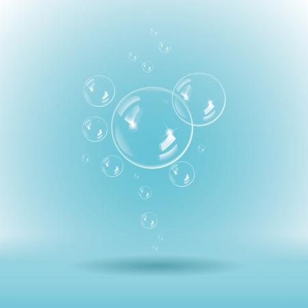 soapy: Burbujas de jab�n azul sobre fondo blanco Vectores