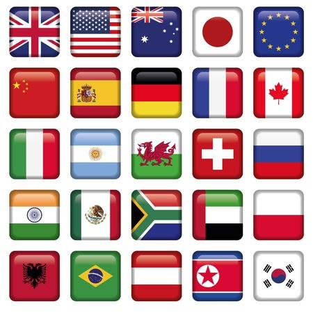bandiere del mondo: Vector set di bandiere del mondo top stati Vettoriali