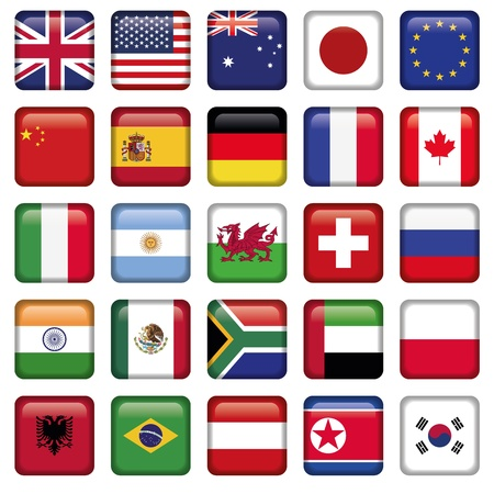Vector set of Flags world top states Vector