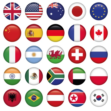 Set of Round Flags world top states Stock Vector - 19447024